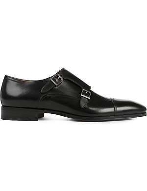STEMAR Contrasting texture double-monk shoes