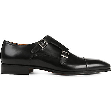 STEMAR Contrasting texture double-monk shoes (Black