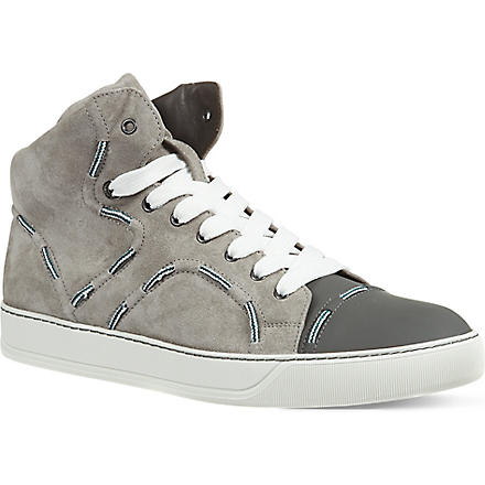 LANVIN Lace high-top trainers (Grey/light
