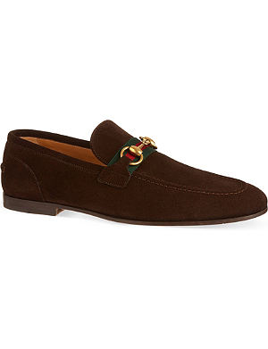 GUCCI New Power horsebit web suede loafers