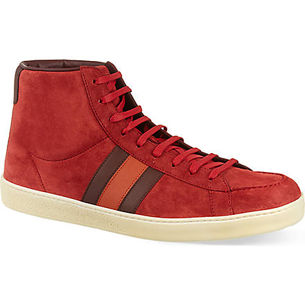 GUCCI Orizon suede hi-top trainers (Red