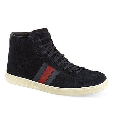 GUCCI Orizon suede high tops (Navy