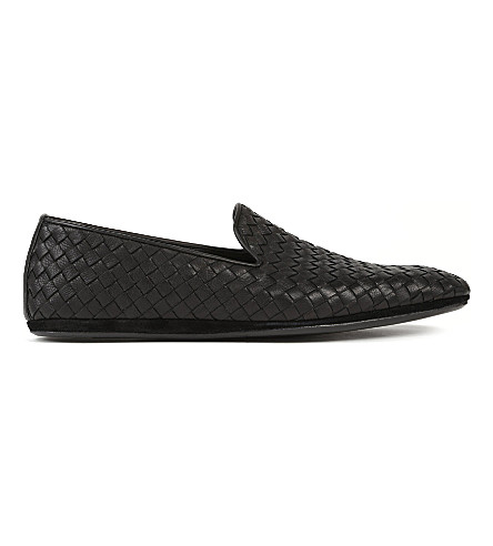 BOTTEGA VENETA Intrecciato leather slippers (Black
