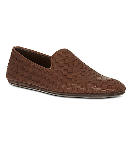 BOTTEGA VENETA Intrecciato leather slippers (Brown