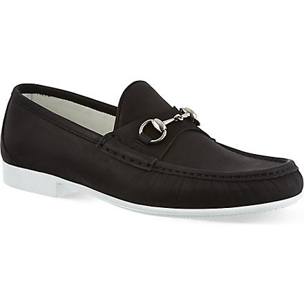 GUCCI Rafer horsebit boat shoes (Black