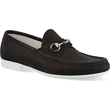 GUCCI Rafer horsebit boat shoes (Black