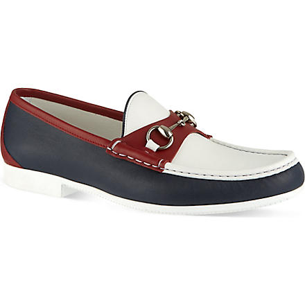 GUCCI Rafer colourblock boat shoes (Blue/drk.c