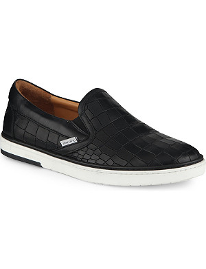 JIMMY CHOO Grove croc-embossed slip-on trainers