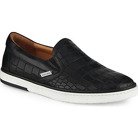 JIMMY CHOO Grove croc-embossed slip-on trainers (Black