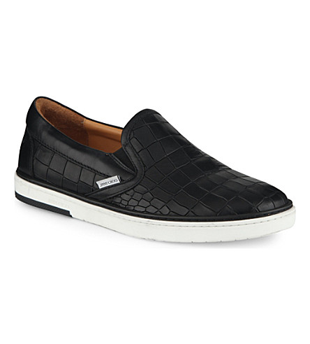 JIMMY CHOO Grove croc-embossed slip-on trainers (Black