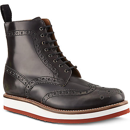 GRENSON Freddie punched boots (Grey