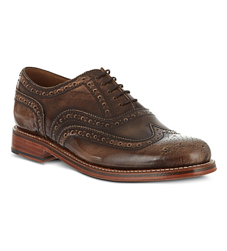 GRENSON Stanley leather Oxford brogues (Brown