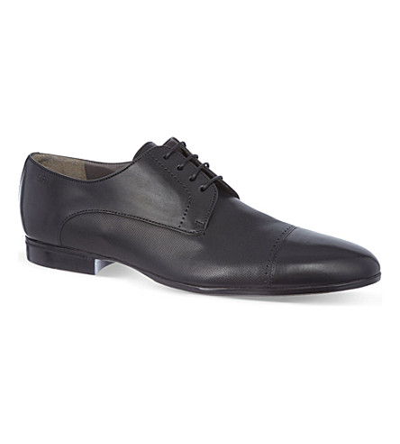 HUGO BOSS Textured leather Derby shoes (Black