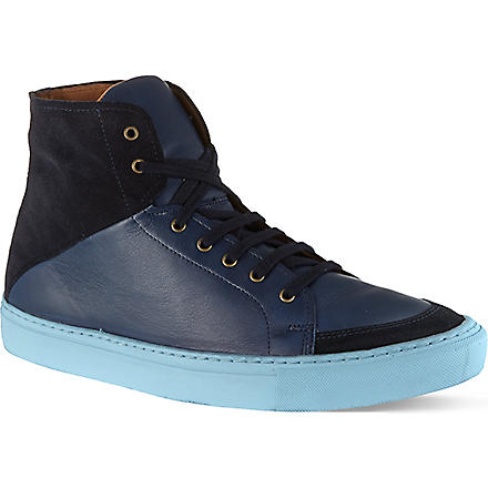 KG KURT GEIGER Bryson leather and suede high tops (Navy