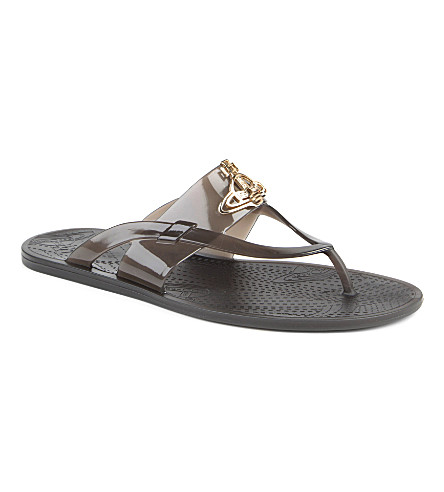 VIVIENNE WESTWOOD Orb-detailed thong sandals (Black