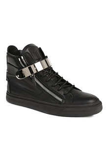 GIUSEPPE ZANOTTI Zip-detailed leather high tops