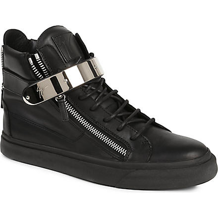 GIUSEPPE ZANOTTI Zip-detailed leather high tops (Black
