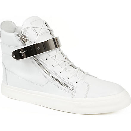 GIUSEPPE ZANOTTI Silver-plated leather high-top trainers (White