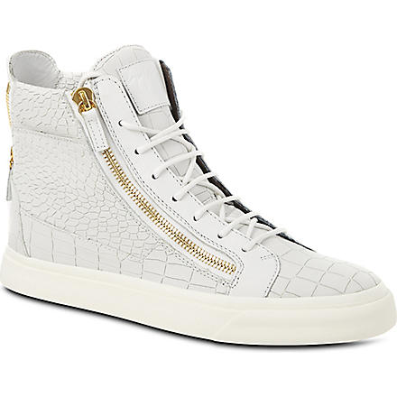 GIUSEPPE ZANOTTI Mock-crock high-top trainers (White
