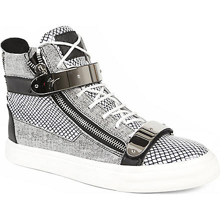 GIUSEPPE ZANOTTI Double-bangle graphic high-top trainers (Blk/white