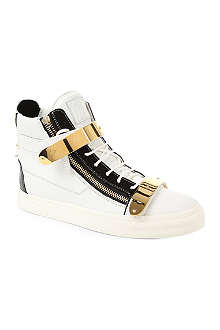 GIUSEPPE ZANOTTI Double-strap leather high tops