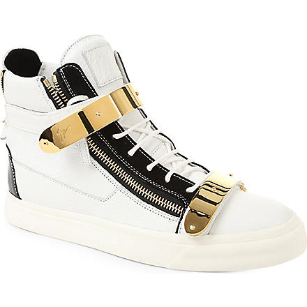 GIUSEPPE ZANOTTI Double-strap leather high tops (White