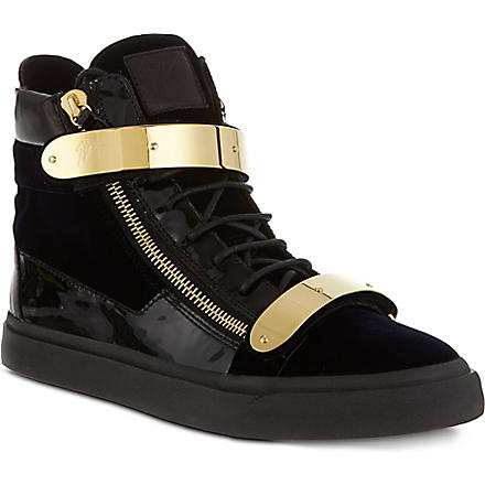 GIUSEPPE ZANOTTI Double bangle high top trainers (Navy