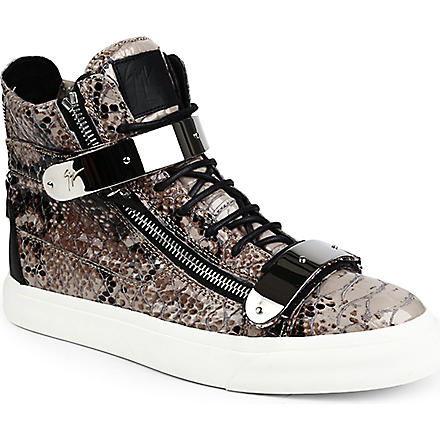 GIUSEPPE ZANOTTI Python-print high-top trainers (Grey