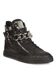 GIUSEPPE ZANOTTI Crocodile effect chain high tops