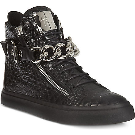 GIUSEPPE ZANOTTI Crocodile effect chain high tops (Black