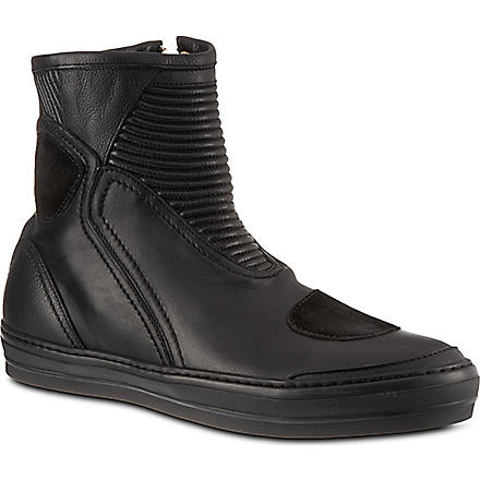 ALEXANDER MCQUEEN Biker leather high tops (Black