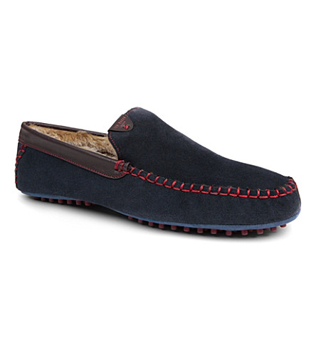 TED BAKER Carota faux-fur-lined slippers (Navy