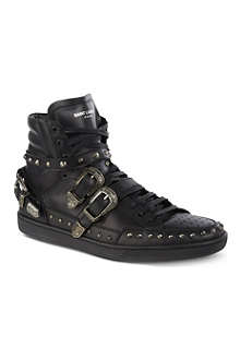 SAINT LAURENT Blake studded high-top trainers
