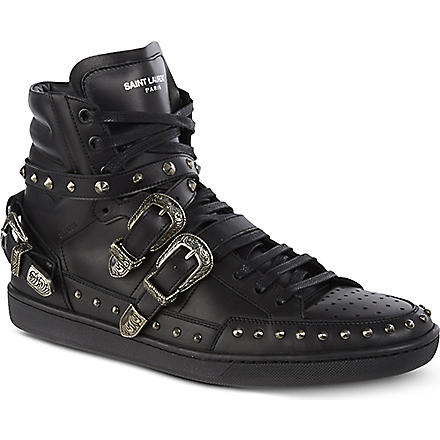 SAINT LAURENT Blake studded high-top trainers (Black
