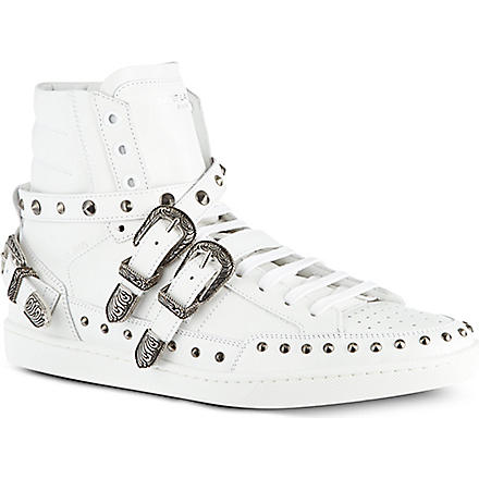 SAINT LAURENT Blake studded high tops (White