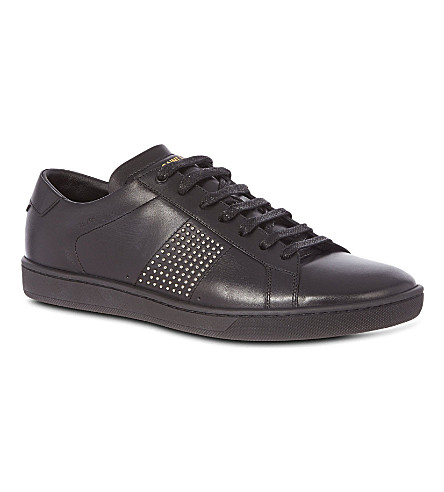 SAINT LAURENT Lo studded trainers (Black