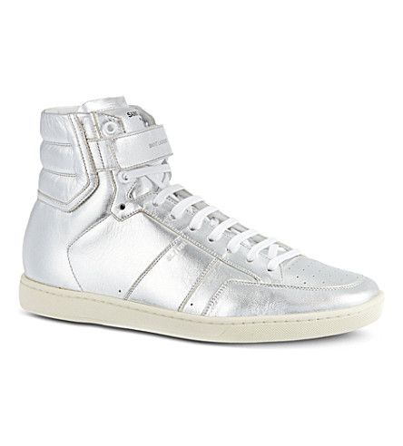SAINT LAURENT Metallic high-top trainers (Silver