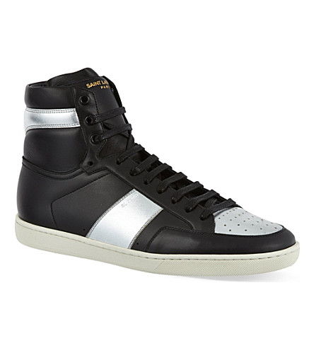 SAINT LAURENT Metallic leather hi-top trainers (Blk/other