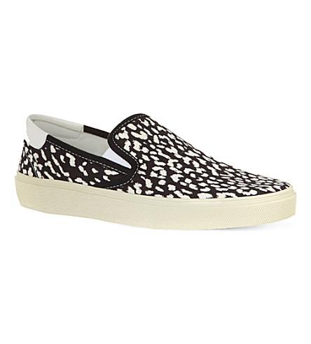 SAINT LAURENT Leopard skate shoes (Black