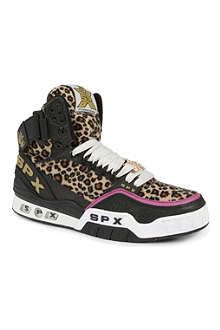 SPX Leopard-print high-top trainers