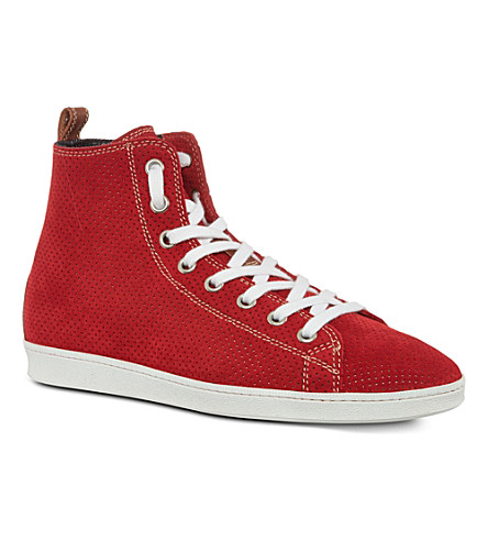 D SQUARED Basquette perforated high tops (Red