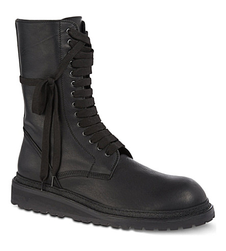 ANN DEMEULEMEESTER Laced leather boots (Black