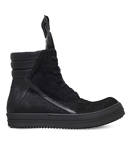 RICK OWENS Geo Basker leather trainers (Black