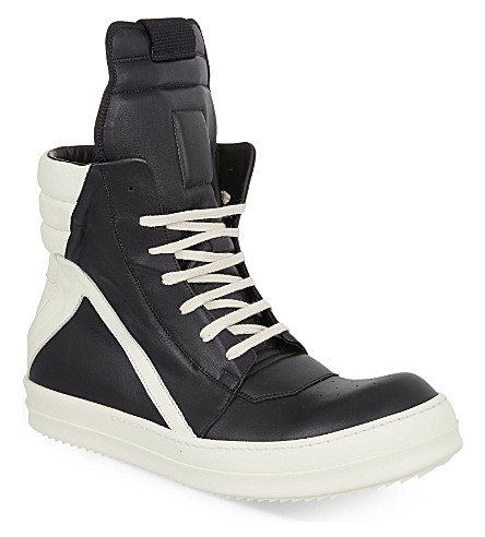 RICK OWENS Geo Basket high-top trainers (Blk/white