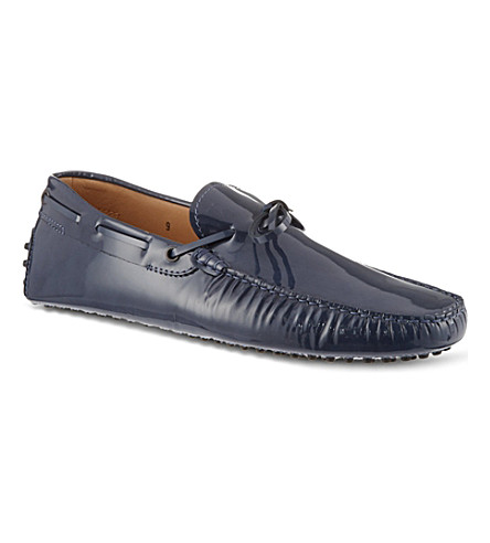 TODS Gommino driving shoes in patent leather (Navy