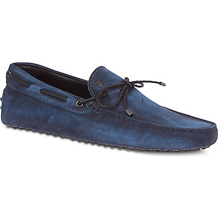 TODS Gommino Driving Shoes in Nubuck (Blue