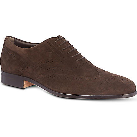 TODS Wingcap suede Oxford shoes (Brown