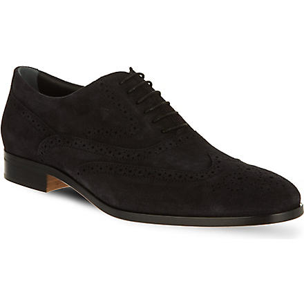 TODS Wingcap suede Oxford shoes (Navy