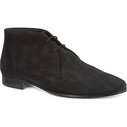TODS Suede Lace-up Ankle Boots (Navy