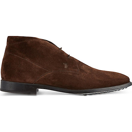 TODS Suede Lace-up Ankle Boots (Brown